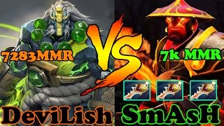 Dota 2 - SmAsH 7k MMR VS DeviLisH 7283 MMR - Ranked Match Gameplay!