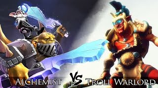 Dota 2: Alchemist (Rage form) vs Troll Warlord | One Click Battle