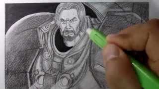 How to Draw Jim Raynor (starcraft 2): Time Lapsed