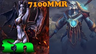 Dota 2 - fn 7100 MMR Plays Queen of Pain And Phantom Lancer - Ranked Match Gameplay!