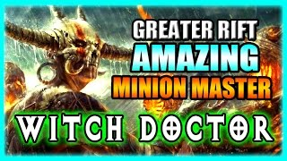 "Diablo 3 Witch Doctor ""Amazing Minion Master"" Build for Greater Rift Farming - Patch 2.3 Gameplay"