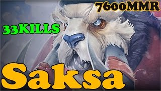 Dota 2 - Saksa 7600 MMR Plays Tusk - Ranked Match Gameplay