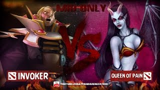 Invoker VS Queen of Pain [Битва героев Mid only] Dota 2